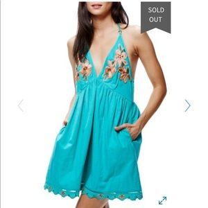 NWT Free People Love Flowers halter mini dress